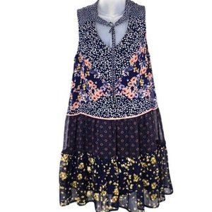 Xhiliration Mixed Floral Polka Dot Midi Dress M
